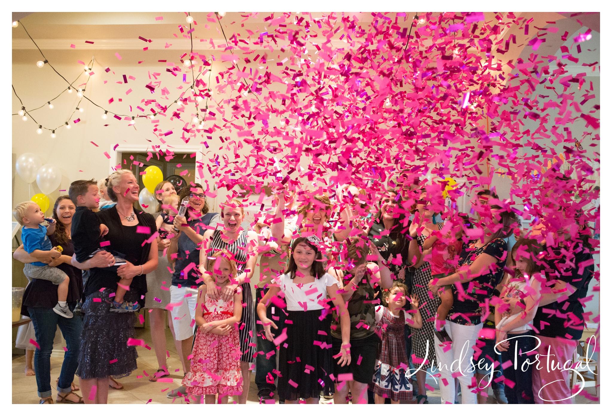 confetti canon gender reveal party